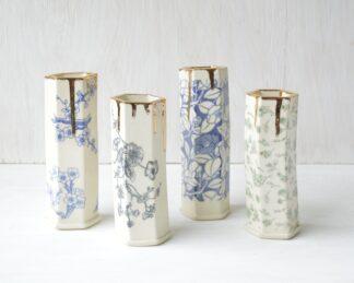 Hex Pattern Gold Drip Bud Vases